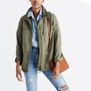 Madewell Military Green Full Zip Fleet Jacket